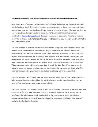 Problems you could face when you Book an Under-Construction Property