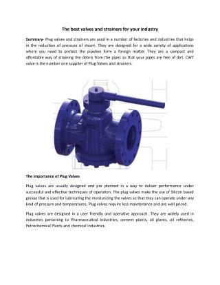 The best valves and strainers for your industry
