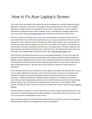 How to Fix acer laptop screen problem