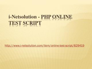 PHP online test script - i-netsolution