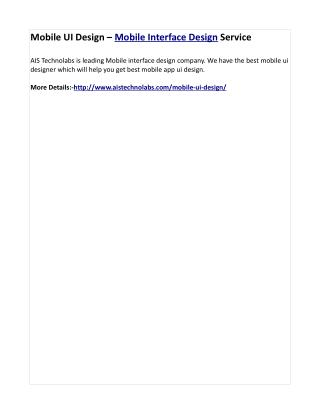 Mobile UI Design – Mobile Interface Design Service