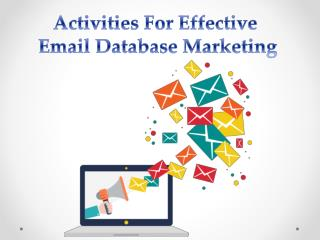 Activities For Email Database Marketing