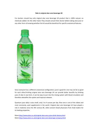 Role in original aloe vera beverage UK