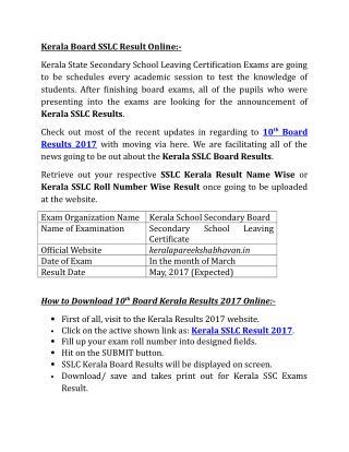 Kerala Board SSLC Result Online