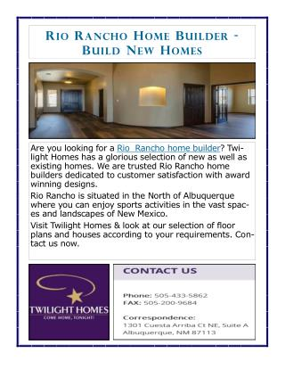 Rio Rancho Home Builder: Build New Homes