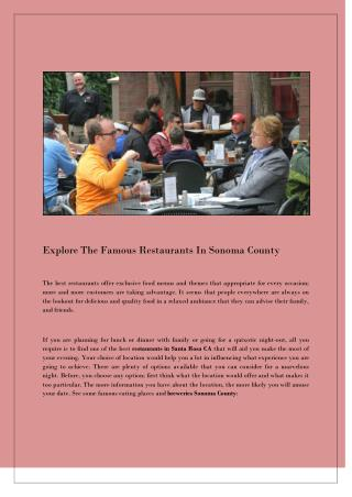 Explore The Famous Restaurants In Sonoma County