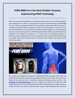 PEMF 8000 Pro is the Most Reliable Company Implementing PEMF Technology