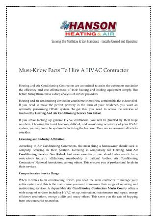 Must-Know Facts To Hire A HVAC Contractor