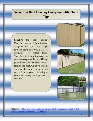 Select the Best Fencing Company with These Tips