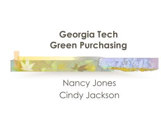 Georgia Tech  Green Purchasing