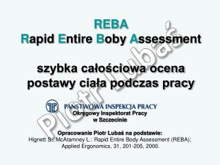 REBA Rapid Entire Boby Assessment  szybka calosciowa ocena postawy ciala podczas pracy