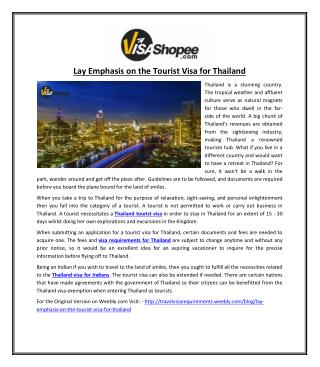 Lay Emphasis on the Tourist Visa for Thailand