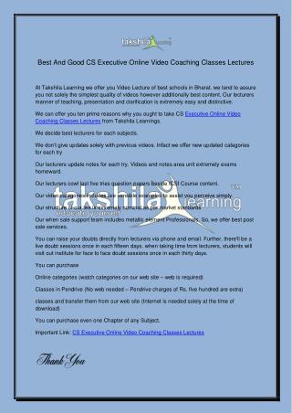 Best Company Secretaries Executive Online Video Coaching Classes
