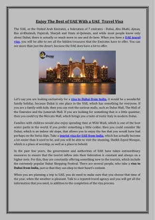 Enjoy The Best of UAE With a UAE Travel Visa