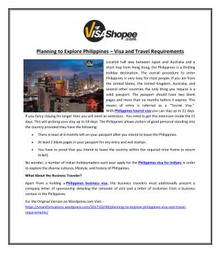 Planning to Explore Philippines - Visa and Travel Requirements