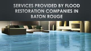 Services Provided By Flood Restoration Companies in Baton Rouge