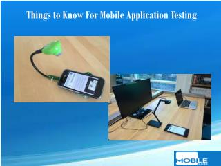 Things to Know For Mobile Application Testing