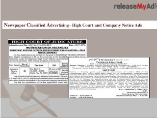 High Court and Company Notice Advertising Process