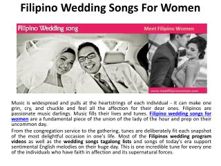 Filipino wedding songs for women