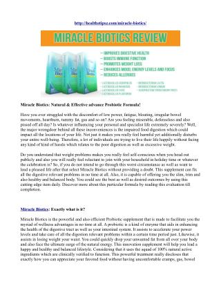 Miracle Biotics: Natural & Effective advance Probiotic Formula!
