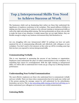 Top 5 Interpersonal Skills You Need to Achieve Success at Work