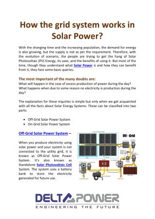 How the grid system works in Solar Power