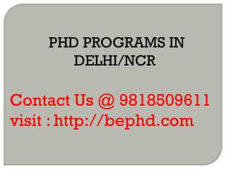 PHD PROGRAMS IN DELHI/NCR