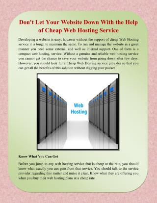 Don't Let Your Website Down With the Help of Cheap Web Hosting Service