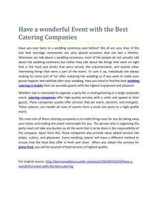 Have a wonderful Event with the Best Catering Companies