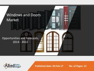 Windows and Doors Market Expected to Reach $282 Bn, Globally, by 2022