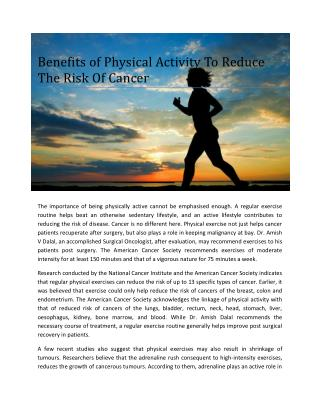 Amish Dalal a Jaslok Consultant on Benefits of physical activity to reduce the risk of cancer