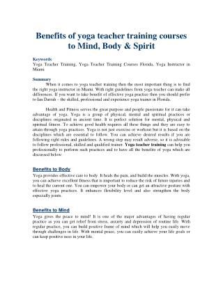 Benefits of yoga teacher training courses to Mind, Body & Spirit