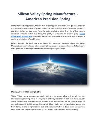Silicon Valley Spring Manufacture - American Precision Spring
