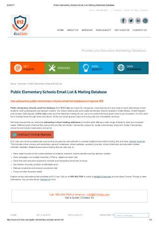 Public Elementary School Mailing Lists
