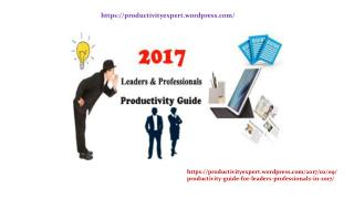 Productivity Guide For Leaders & Professionals in 2017