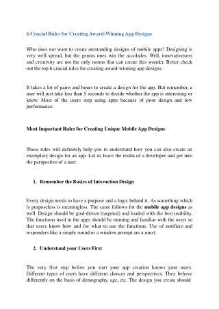 6 Crucial Rules for Creating AwardWinning App Designs