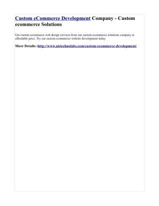 Custom eCommerce Development Company - Custom ecommerce Solutions