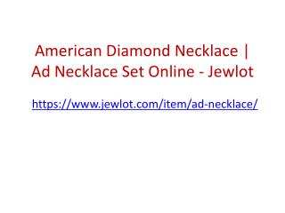 American Diamond Necklace | Ad Necklace Set Online - Jewlot