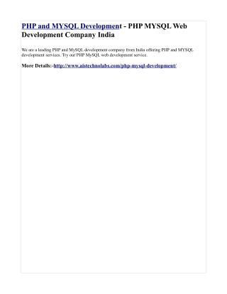 PHP and MYSQL Development - PHP MYSQL Web Development Company India