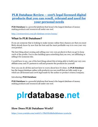 PLR Database review-- PLR Database (SECRET) bonuses