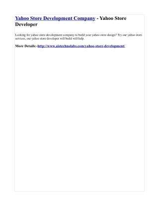 Yahoo Store Development Company - Yahoo Store Developer