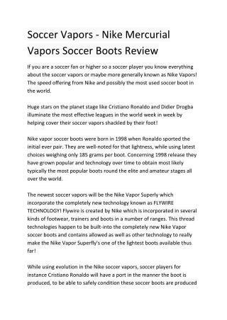 Soccer Vapors - Nike Mercurial Vapors Soccer Boots Review