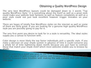 Obtaining a Quality WordPress Design