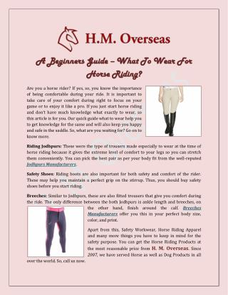 A Beginners Guide–What To Wear For Horse Riding