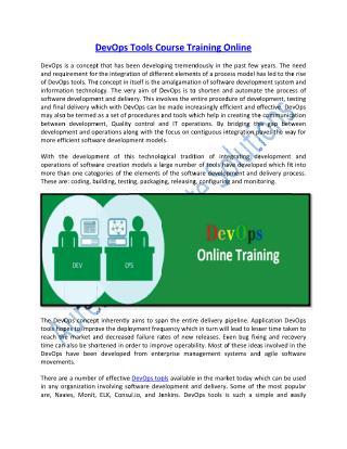 Enhance Skills on Devops Tools Technology Online