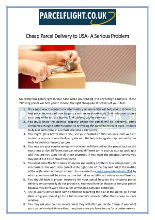 Cheap Parcel Delivery to USA - A Serious Problem