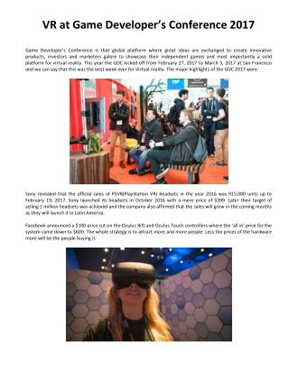 VR at Game Developer's Conference 2017