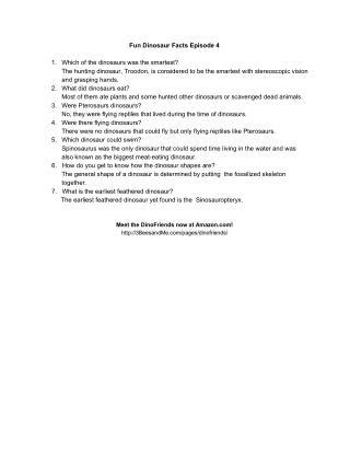 Fun Dinosaur Facts Episode 4 FAQs
