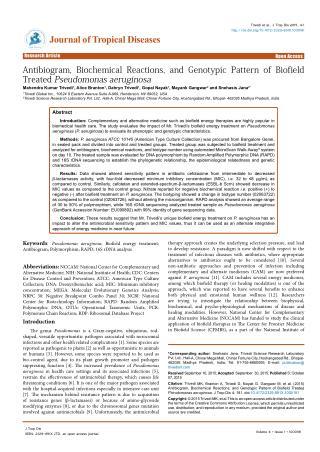 Antibiogram, Biochemical Reactions, and Genotypic Pattern of Biofield Treated Pseudomonas aeruginosa