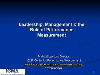 Leadership, Management  the Role of Performance Measurement